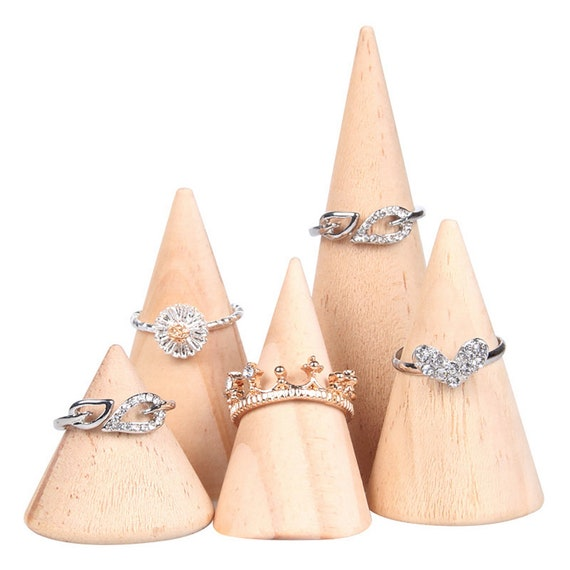 5X Acrylic Finger Cone Ring Stand Jewelry Display Holder Show-Organizer-Applied