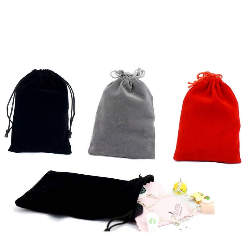 Wholesale Lot of 12 Pink Color Soft Velvet Pouches with Drawstrings for Gift Packaging 3 Sizes available