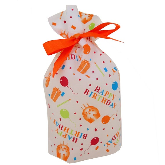 Bulk 48 Happy Birthday Theme Pattern Gift Bags Pouches With