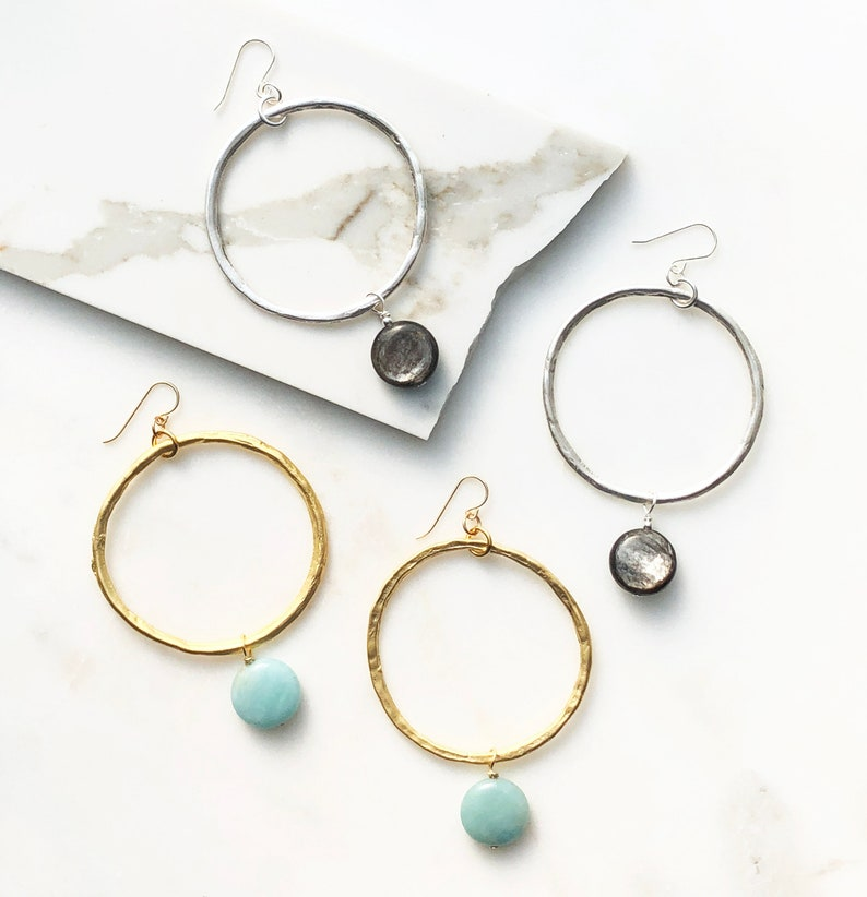 Silver Hoop /& Gemstone Earrings with Green Blue Amazonite and Sterling Silver Ear hooks