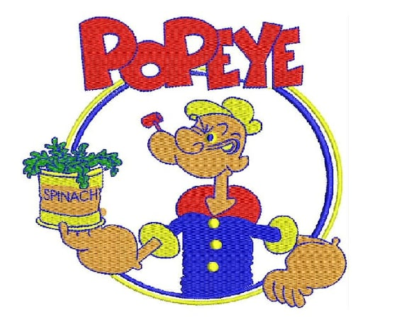 cartoon popeye sailor man embroidery designs instant etsy