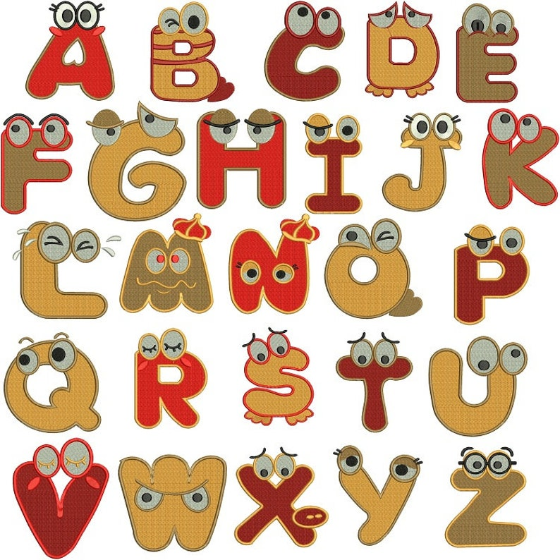 Funny Cartoon Capital Letters Alphabet A to Z Chart Embroidery Designs ( On  Offer Price ) - Instant Download Filled Stitches Design 1839