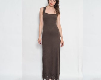 Vintage 90's Faux Suede Brown Maxi Dress / Sleeveless Maxi Dress