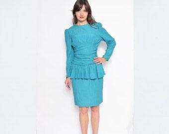 Vintage 80's Green Peplum Dress / Long Sleeve Midi Dress - Size Small