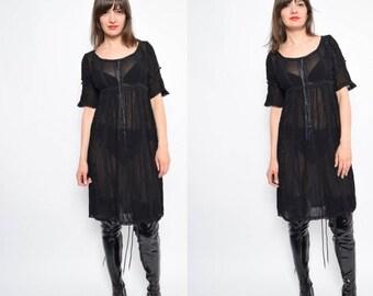 Jahrgang 90er schwarz schiere Kleid - klein