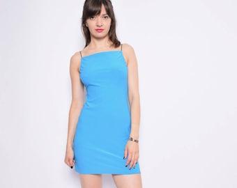 Vintage 90's Spaghetti Strap Turquoise Dress / Blue Mini Strappy Dress - Size Small
