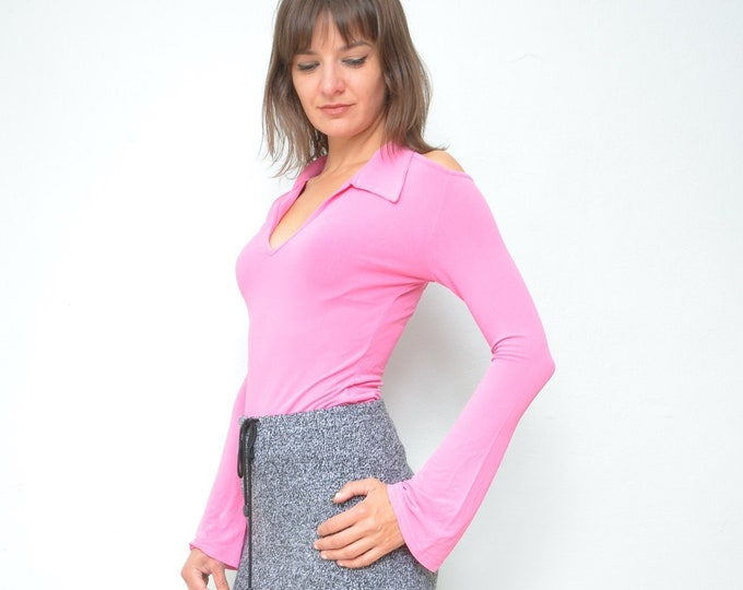 6e453068665 Shoulderless Top / Vintage 90s Cut Out Long Sleeve Pink Top - Size Medium