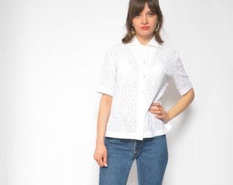 154e387a Vintage White Lace Top / 90's White Buttons Blouse / Lace Short Sleeve Shirt  - Size Large