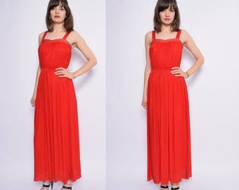 Vintage 80's Red Pleated Maxi Dress / Rhinestone Red Long Evening Dress - Size Extra Small