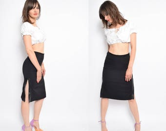 Vintage 90's Black High Slit Skirt / Black Pencil Skirt - Size Extra Small
