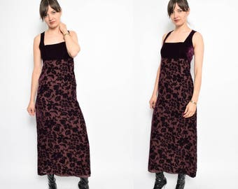 Vintage 90's Burgundy Velvet Maxi Dress / Floral Velvet Long Dress - Size Small