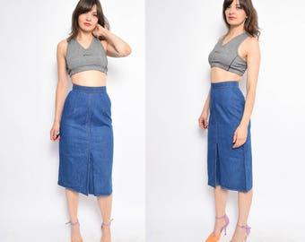 Vintage 70's Blue Denim Skirt / High Waisted Jean Midi Skirt - Size Extra Small