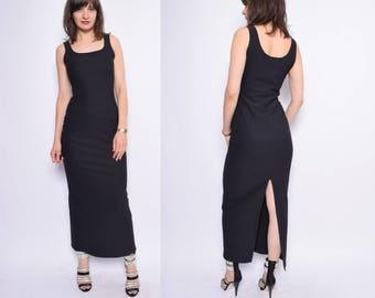 Jahrgang 90er schwarze gerippte Maxi-Kleid / SleevelessLong Abendkleid - Größe Medium