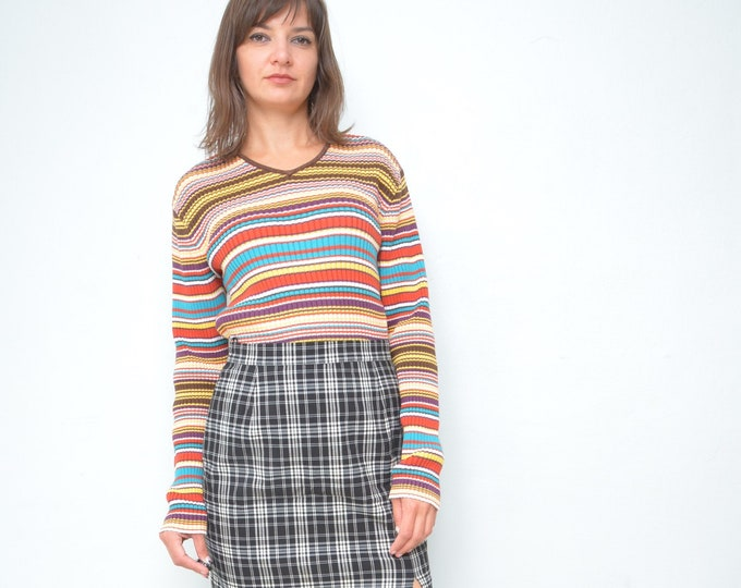 65808dc8a41 Multi Color Ribbed Sweater / Vintage 90's Ribbed Striped Colorful V-Neck Top  / Long