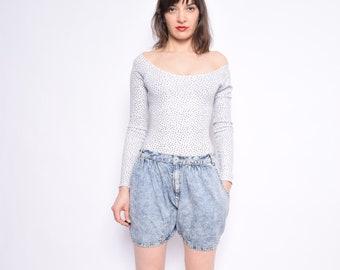 Vintage 90's Acid Wash Denim Shorts / Very Light Denim High Waisted Shorts - Size Medium
