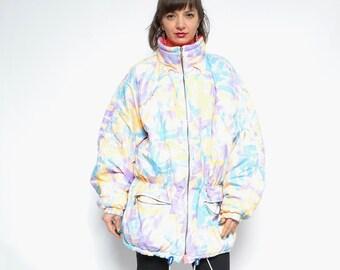 8ff84774db Abstract Print Winter Jacket   Vintage 80s Neon Colors Zipper Long Ski  Jacket - Size Large