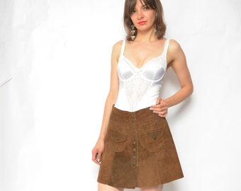 fe0d3fd3d Suede Leather Snap Button Skirt / Vintage 70s High Waist Brown Leather Mini  Bohemian - Size Medium