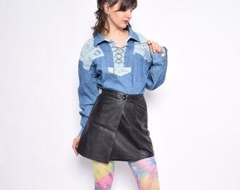 a0acd4de058 Vintage 90 s Blue Denim Western Shirt  Lace Up Acid Wash Denim Shirt    Color Blocking Denim Jean Shirt - Size Large