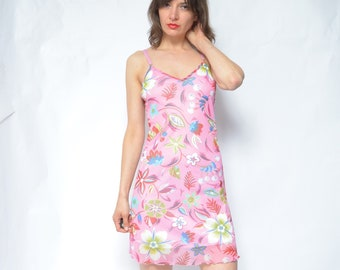 68b5446a4cc Strappy Mesh Dress   Vintage 90s Floral Cherry Print Two Piece Short Mini  Summer Dress - Size Medium