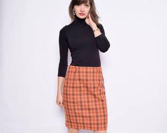 Vintage 90's Plaid Orange Skirt / Plaid Mini Skirt / Plaid Wool Skirt - Size Medium