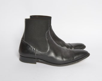 Vintage Black Real Genuine Leather Chelsea Boots