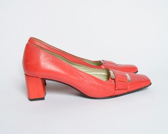 Vintage Red Leather Pumps with Toe Buckles