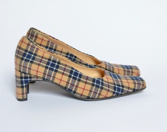 Vintage Brown, Red, and Blue Plaid Fabric Pumps