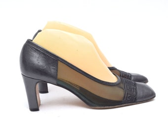c69180c4618 Vintage 90's Black Leather and Mesh Chunky Heel Italian Shoes - Size: 37.5  EU / 7 US / 5 UK