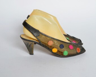 Vintage 90's Black and Gold Mesh Heels with Colorful Polka Dots