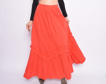 Vintage 70's Ruffled Red Long Skirt / High Waisted Maxi Skirt / Red Flared Long Skirt - Size Small