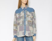 Botanical Print Denim Shirt Vintage 90s Floral Colorful Long Sleeve Jean Button Top - Size Medium