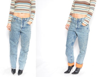 e9e95732f74d Jeans lavage acide   Vintage des années 80 Orange matelassé doublé  pantalons en Denim jambe effilée - grande taille