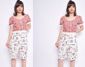 Vintage 90's Floral White Shorts / White High Waisted Shorts - Size Extra Large