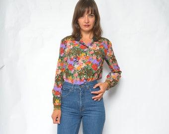 e8b2d8de09d Floral button blouse | Etsy