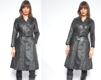 8d87437625c3 Leather Black Long Coat  Vintage 70 s Real Genuine Leather Button Belted Trench  Coat   Winter Coat - Size Small
