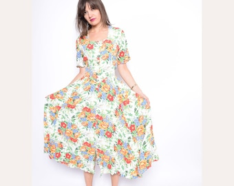 Vintage 90's Floral Button Maxi Dress / White Floral Grunge Dress - Size Medium