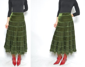 c9ebe9fc8 Ruffled Velvet Skirt / Vintage 90s Moss Green Velvet Long Maxi Skirt - Size  Large