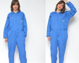 24993c08d08 Aviator Jumpsuit   Vintage 80s Long Sleeve Workers Button Onesie Jumper    Workers Coveralls - Size Large