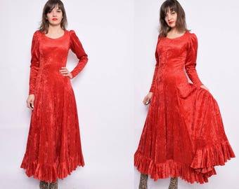 Vintage 90's Red Velvet Ruffled Dress / Red Velvet Maxi Dress / Long Sleeve Maxi Red Dress - Size Extra Small