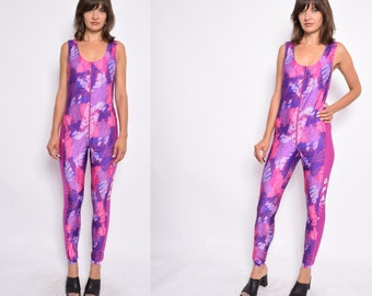 Sleeveless Abstract Unitard   Vintage 90s Zipper Spandex Pink Jumpsuit -  Size Medium 2ff183abf