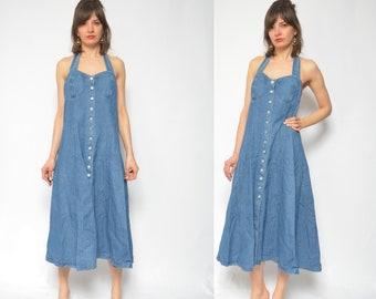 d863b17604 Denim Dress   Blue Jean Button Long Dress   Vintage 90s Sleeveless Denim  Maxi Full Dress - Size Large