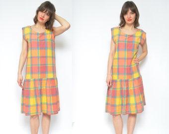 2381199ba87 Oversized Colorful Dress   Vintage 80s Sleeveless Plaid Multi Color Summer  Shift Ruffled Sundress - Size Medium