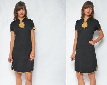cb15a711d Chinese Style Dress / Vintage 90s Short Sleeve Asian Satin Trim Cotton Dress  - Size XL