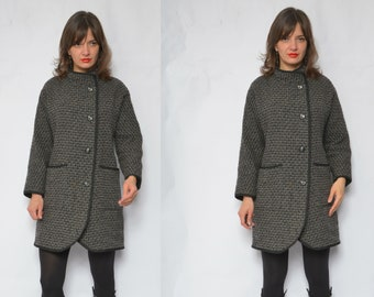 Wool Button Coat / Vintage 80s Tweed Pocket Winter Short Jacket - Size Small
