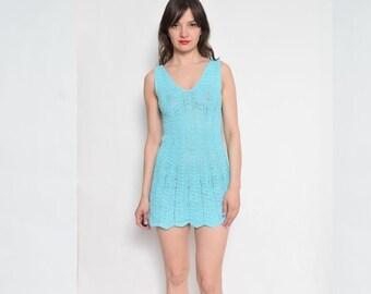 Vintage Crochet Turquoise Dress / Sleeveless Mini Dress / Crochet Mini Summer Dress