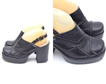 984dd9c7498a54 Vintage 90 s Black Leather Patchwork Platform Chunky Heel Platform Sandal  Slingback Clogs