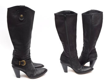 c1e6d4e59e28e Vintage 90 s Black Thick Leather Western Style Buckle Boots - Size 38 EU    7.5 US