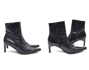 Lederen laarzen vrouwen zwart lederen laarzen wees Tow | Etsy