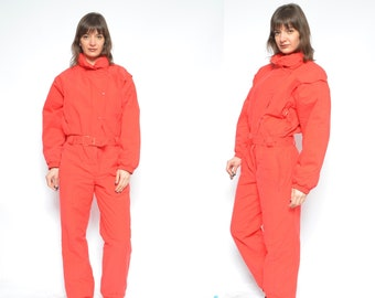 0a9849ba9e One Piece Skiing Suit   Red Skiing Jumpsuit Vintage   90 s Red One Piece Snowboarding  Suit   Hooded Ski Jumpsuit - Size Large