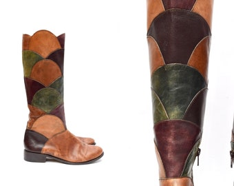 6eef3ec14b35 Vintage 90 s Brown and Green Italian Leather Patchwork Boots